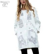 ElaCentelha Women Coats Runway Trench Coat Autumn Winter Women's High Quality Printed O-Neck Long Trench Outerwear