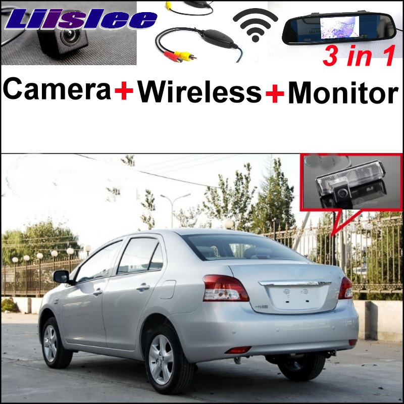 Liislee Special Camera + Wireless Receiver + Mirror Monitor Parking System For TOYOTA Belta Vios Yaris Sedan XP90 MK2 2007~2013 wireless pager system 433 92mhz wireless restaurant table buzzer with monitor and watch receiver 3 display 42 call button