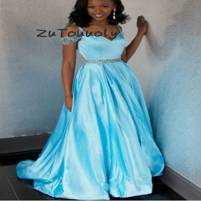 Beautiful Sky Blue Black Girls   Prom     Dresses   A Line Off Shoulders Beaded Straps Silk Satin Long Formal Evening Gowns Cheap 2019