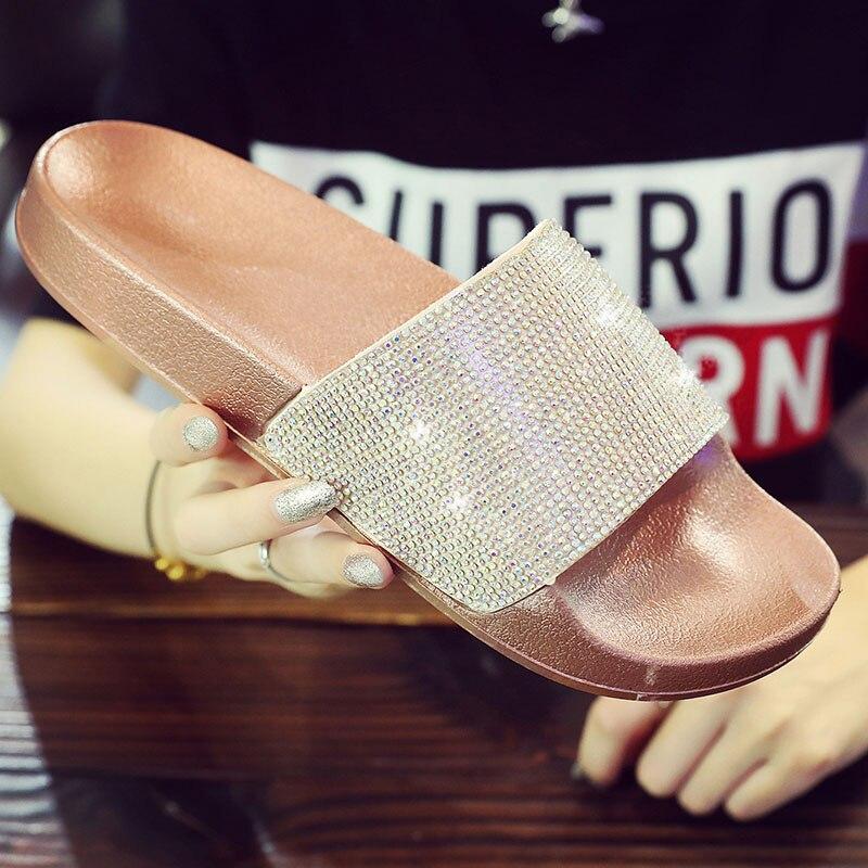 c3b7861ffb2e Detail Feedback Questions about Shoes Woman Women Summer Beach Flip Flops  Slippers Home Female Ladies Slides Sandals Crystal Gold Fashion Women Flat  ...