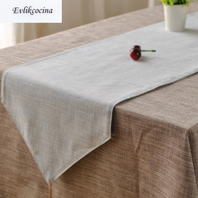 Free Shiping Light Blue Table Runner Linen Cotton Corredor De Mesa Solid Color Tafelloper Azul Caminos