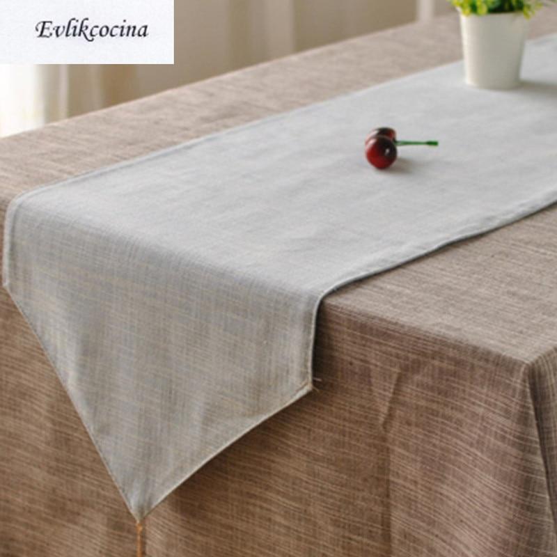 Free Shiping Light Blue Table Runner Linen Cotton Corredor De Mesa Solid  Color Tafelloper Azul Caminos