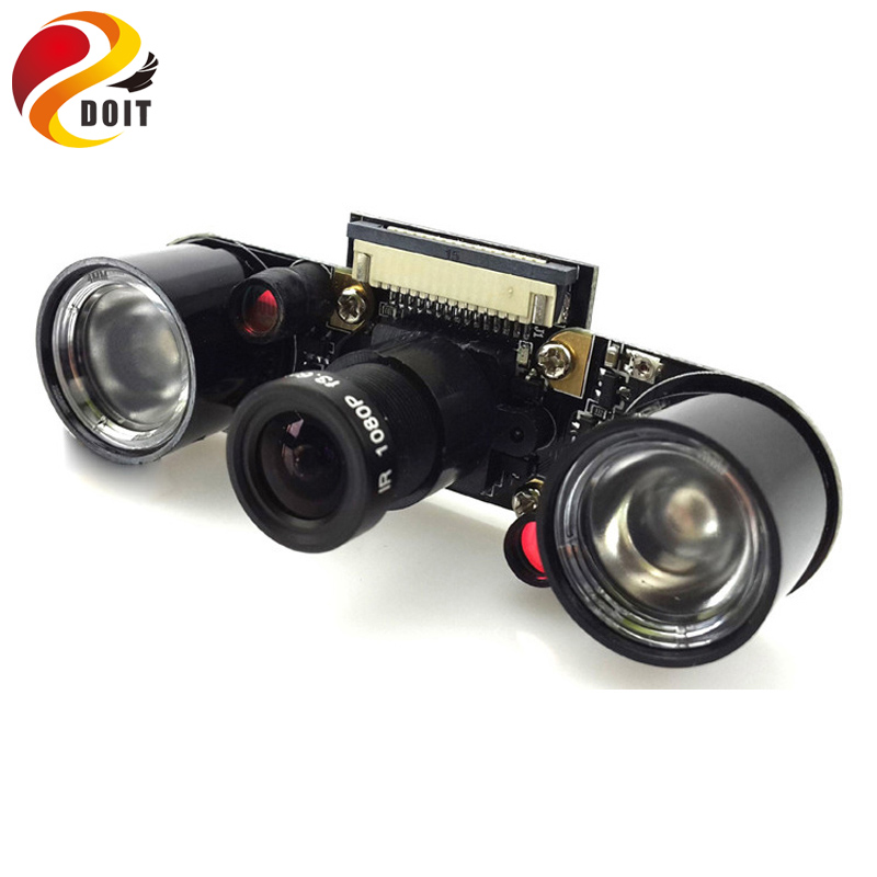 Original DOIT Raspberry Pi 2 5MP Pixels Camera(F) Module +2pcs IR Sensor Night Vision LED+15PIN FFC Support RPi B A+ /B+ Monitor