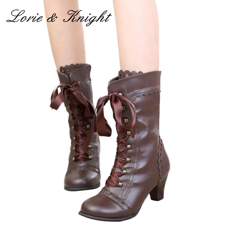 Womens Cosplay Knee High Riding Boots Lace Up Bow Knot Lolita High Heels Shoes