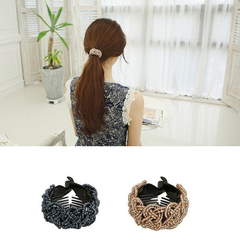 Retro hair crystal string of hairpin horsetail buckle twist banana vertical clip