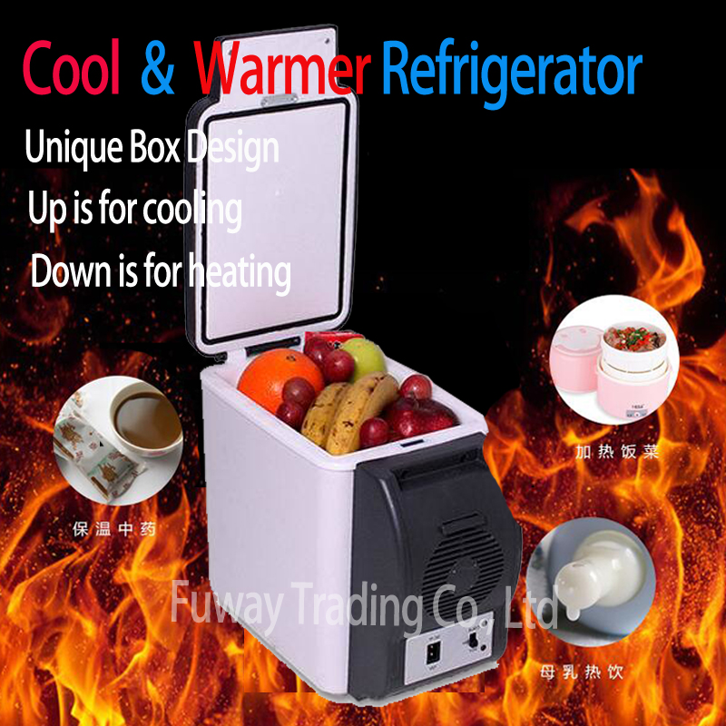 Free Shipping!!!Car Mini Fridge 6L Car Refrigerator ABS Mini Refrigerator Cooler And Heating Multi-Function Portable Car Freezer цены