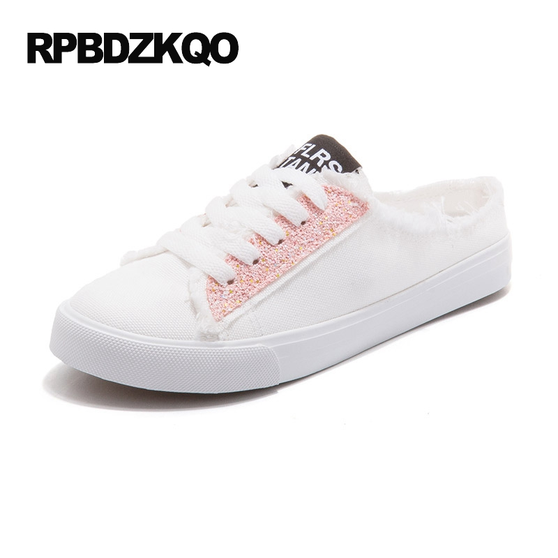 2017 Summer Round Toe Cheap Women White Canvas Shoes Size 35 Slip On Flats Lace Up Leisure Ladies Korean Drop Shipping Beautiful