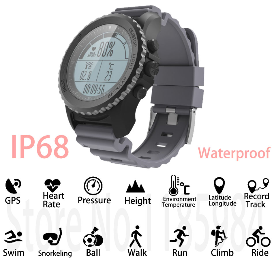 New S968 GPS Smart Watch IP68 Waterproof Smartwatch Heart Rate Monitor Temperature Multi-sport Men Swimming Running Sport Watch