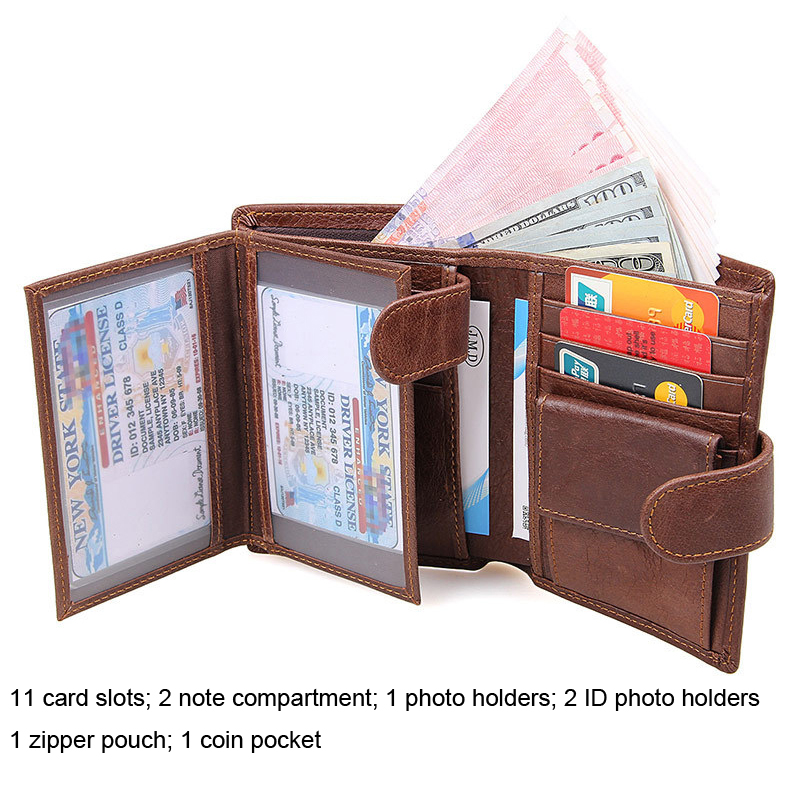 Genuine Leather Men's Wallet Large Capacity Multi-Card Bit Short Clutch Wallets Retro Purse Men RFID Anti-Scanning Card Holders top brand genuine leather wallets for men women large capacity zipper clutch purses cell phone passport card holders notecase