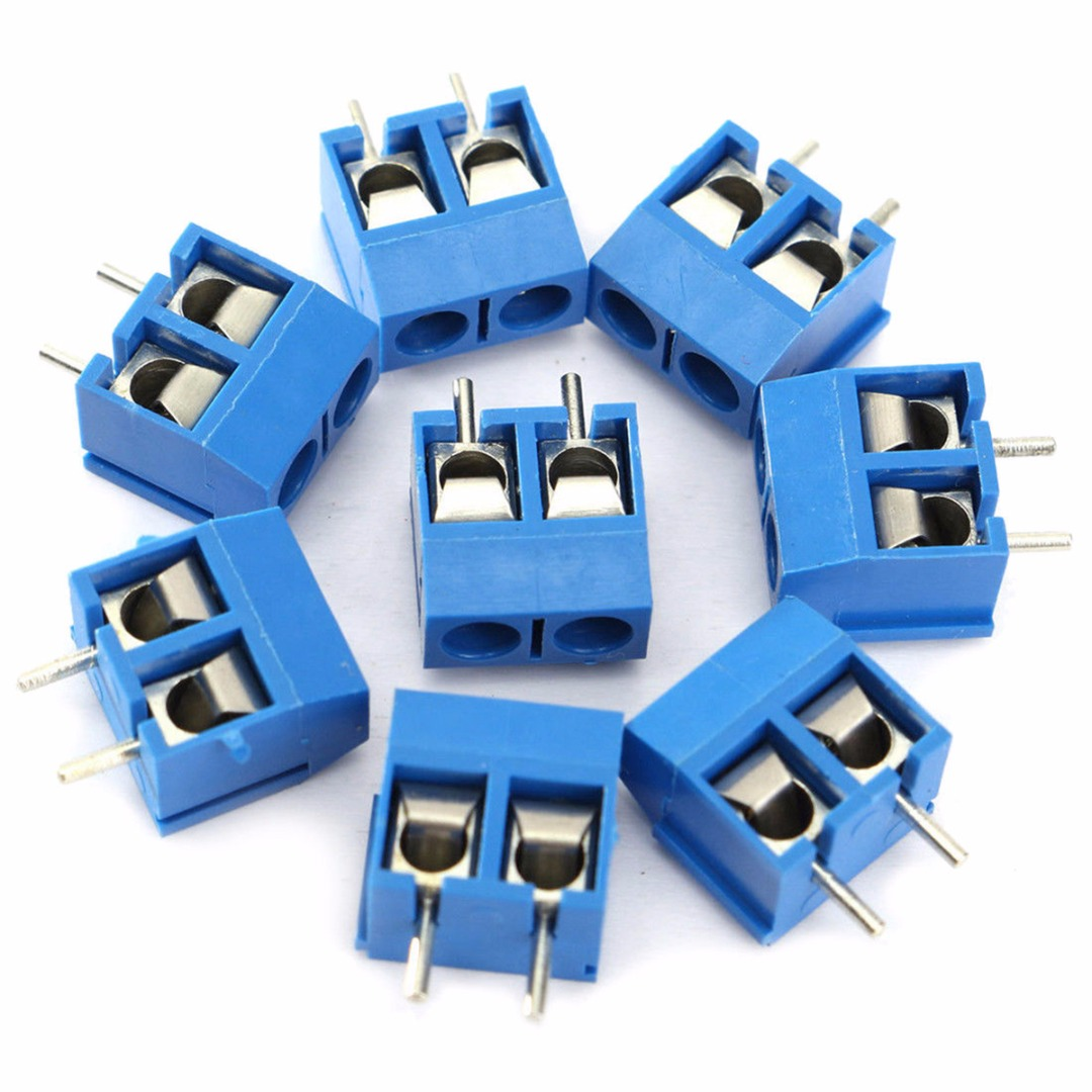 40pcs New Blue 2 Pin Screw Terminal Block Connector 508mm Pitch Pole3positionpanelpcbwiringrotaryswitch2230jpg Connectors Panel Pcb Mount For