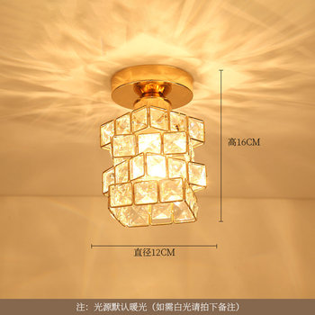 Artpad Modern LED Crystal Ceiling Light for Entrance Corridor Balcony Aisle Decor Surface Mount Square Round Gold Ceiling Lamp 6