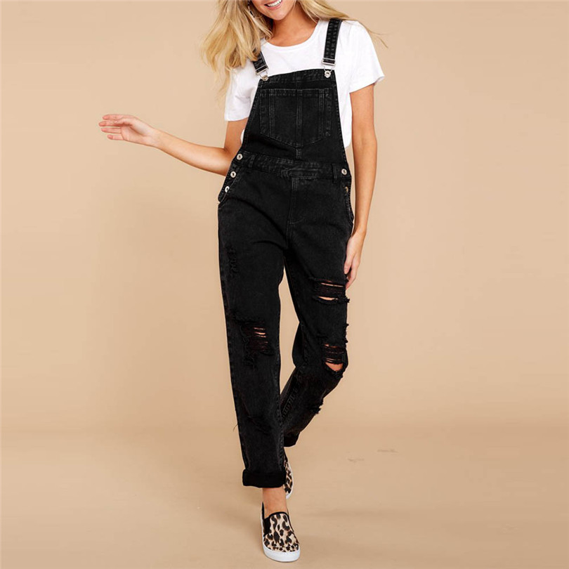 Women Sexy Denim Jeans Summer Fasihon New Autumn Bib Pants Hole Overalls Jeans Straps Demin Trousers Rompers #4F05 (7)