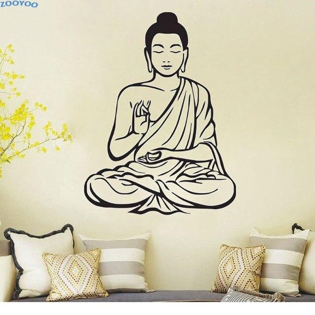 meditating buddha wall sticker home decor removable vinyl wall art