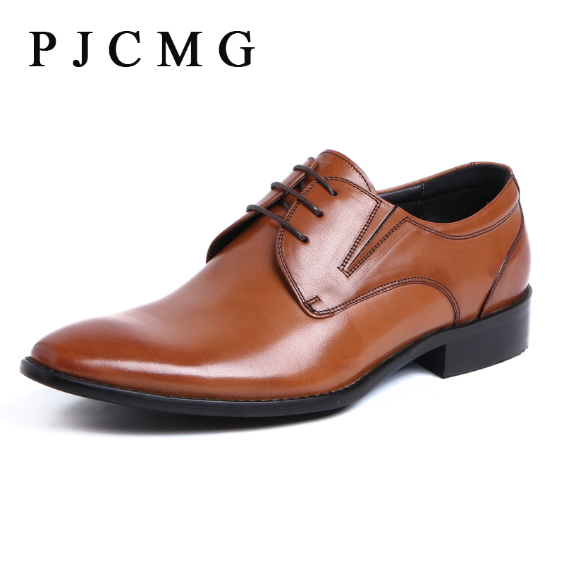 PJCMG Spring/Autumn Comfortable Fashion High Quality Black/Brown Genuine Leather Lace-up Pointed Toe Flats Oxfords Men Shoes new spring autumn women shoes pointed toe high quality brand fashion ol dress womens flats ladies shoes black blue pink gray