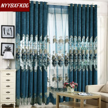 European-style elegant curtains living room home furnishings embroidered luxury cord and tulle