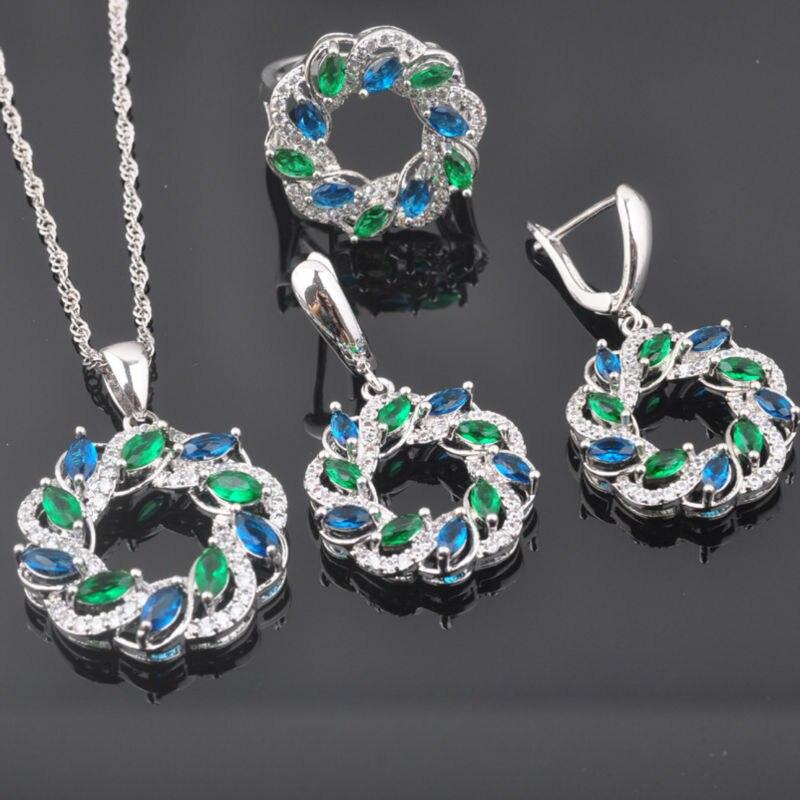 AnpassungsfäHig Fahoyo Flawless Green & Blue Zirkonia Frauen 925 Sterling Silber Schmuck Sets Ohrringe/anhänger/halskette/ringe Qz0379 Schmuck & Zubehör Hochzeits- & Verlobungs-schmuck