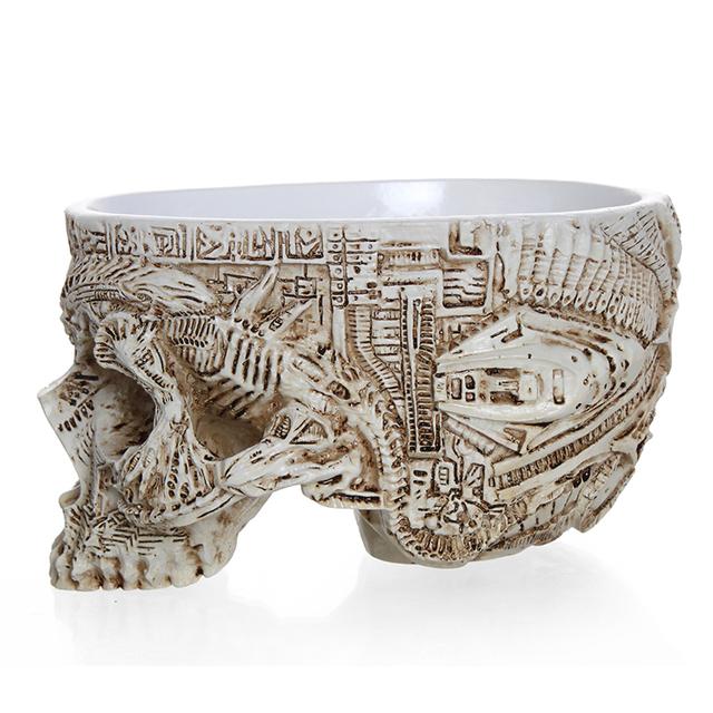 Carved Skull Flower Pot