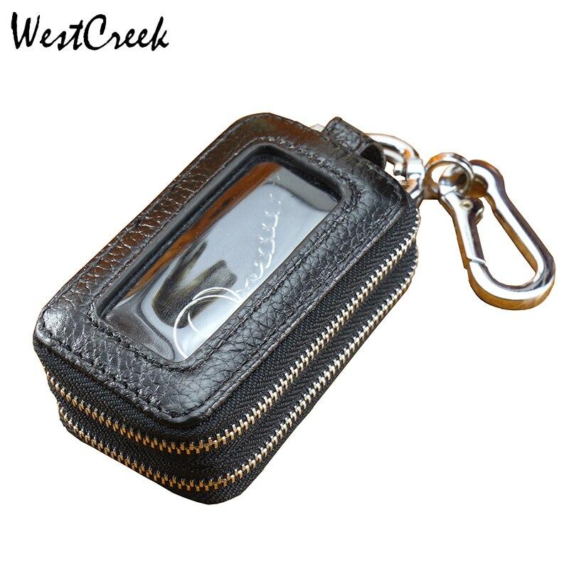 WESTCREEK Brand Genuine Leather Men Double Zipper Car Key Wallets  Women Minimalist Key Holder Fashion Housekeeper Keychain