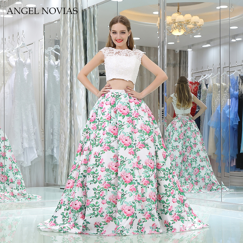 Angel Novias Long Ball Gown Floral Print Two Pieces Prom Dress 2018 ...