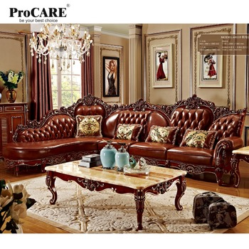red solid wood genuine leather corner sofa set / L shape sofa set living room furniture with marble surface's coffee table-6811