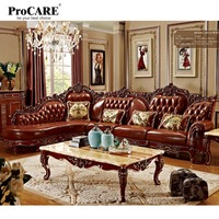 red solid wood genuine leather corner sofa set / L shape sofa set living room furniture with marble surface's coffee table 6811