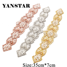 YANSTAR Hand 1PIECE Rhinestones Appliques Rose Gold Sew On Indian silk With Beaded  Sewing for Wedding Party Dresses Belt YS827 8b6062a7eff2