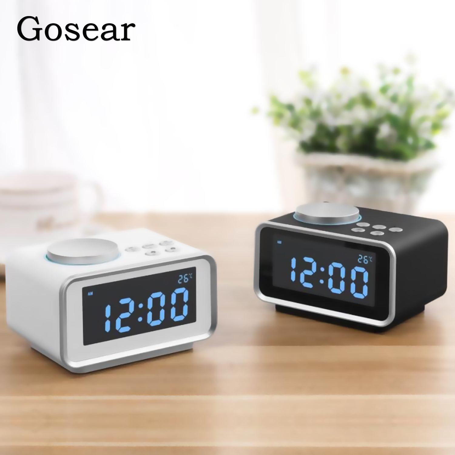 Gosear Digital Bedside LCD Alarm Clock with FM Radio Indoor Thermometer 2 USB Charger Port Snooze And Dual Alarm Function