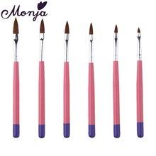 6Pcs/set Pink Wood Handle Nail Art Pen Brushes UV Gel Polish Powder Builder Carving Painting Drawing Crystal 3D Design Manicure