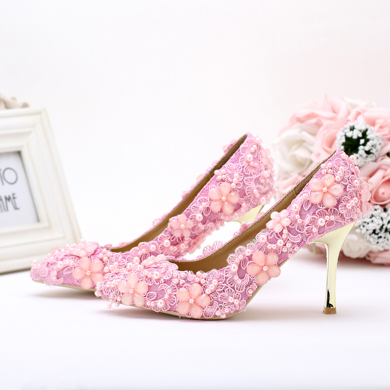 2018 Lovely Toe High Heeled Emmy Bridal Shoes Pink Pearl Lace Wedding Pointed Mother Of The Bride Party Prom In Women S Pumps From On