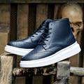 2015 Моды Случайные Мужские Сапоги Осень Зима Кожа Резные Платформы сапоги Квартиры Пары Мартин обувь мужчины zapatos mujer botas