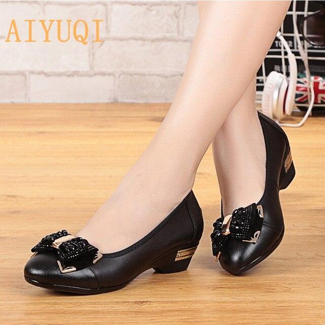 02dad206 AIYUQI clásico de las mujeres zapatos Casual dedo del pie negro zapatos  Zapatos de tacón de