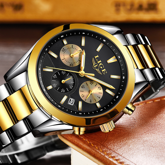 2020 New LIGE Watches Mens Military Waterproof Top Brand Watches Stainless Steel Quartz Clock Man Full Steel Wrist Watch Relogio