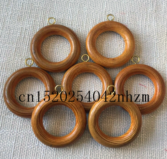 20pcs/pack 62mm pine wood curtain ring curtain holder/wooden circle with metal hook brown color