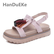 Fashion Fringe Summer Shoes For Teenage Gilrs Big Size 34-43 Ladies Sandals  2019 Casual fc2d1e4937b7