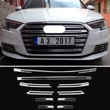 OYAMARIVER ของแท้ใหม่ ABS ด้านหน้า Grille ตกแต่งฝาครอบ Trim แถบ 10pcs สำหรับ Audi A3 รถจัดแต่งทรงผมกันชน Decals ตกแต่ง