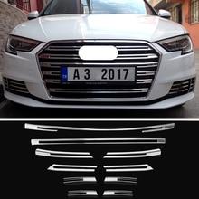 OYAMARIVER Genuino Nuovo ABS Anteriore Griglia di Copertura Trim Strisce Decorativo 10pcs Per Audi A3 Auto Styling Paraurti della decorazione Delle Decalcomanie