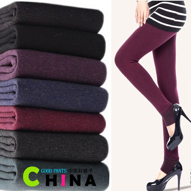 Leggings Moda 2014 Colorful Seamless Gimnasio Leggings de Gran Tamaño Damas Engrosamiento de Invierno de Terciopelo de Algodón Leggings