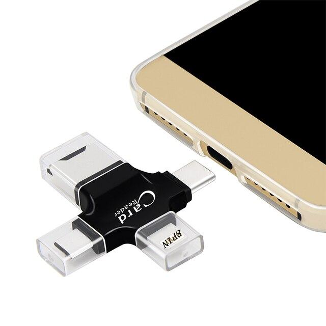 Kismo 4 w 1 OTG czytnik kart pamięci Micro SD TF USB typu C czytnik kart OTG Adapter do iPhone X 8 7 6 Plus S8 S9 uwaga 8 S6 S7