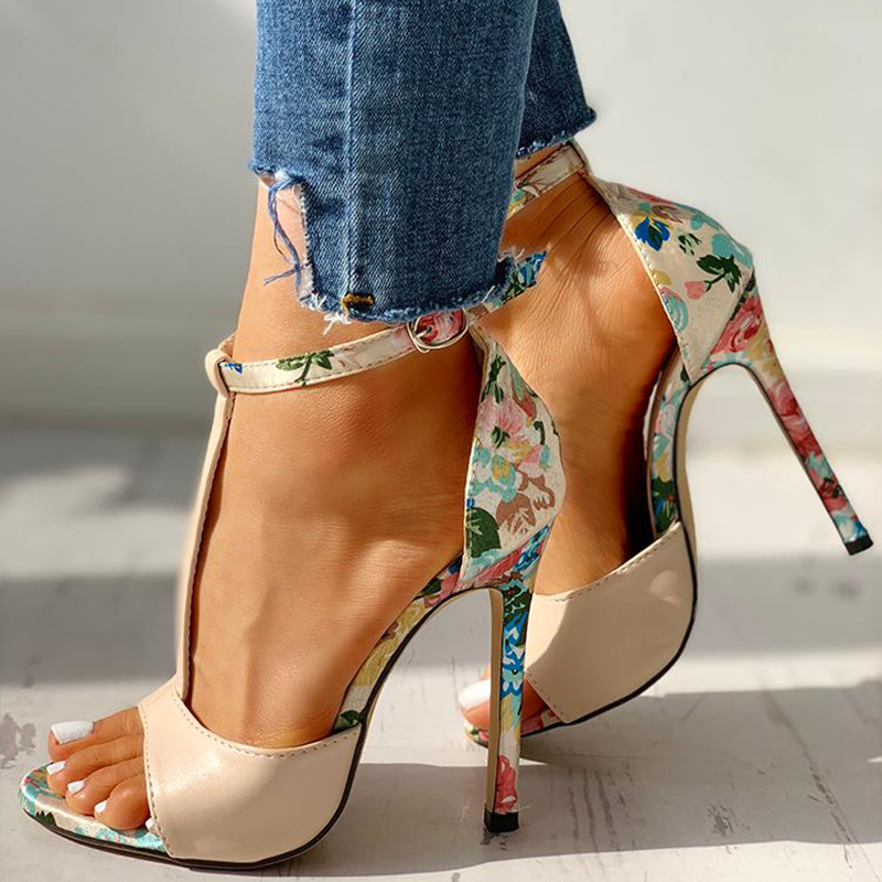 Rimocy Sexy Women T-strap Floral Print Sandals 2019 Summer Fashion Super High Heels Open Toe Gladiator Shoes Woman Party Pumps