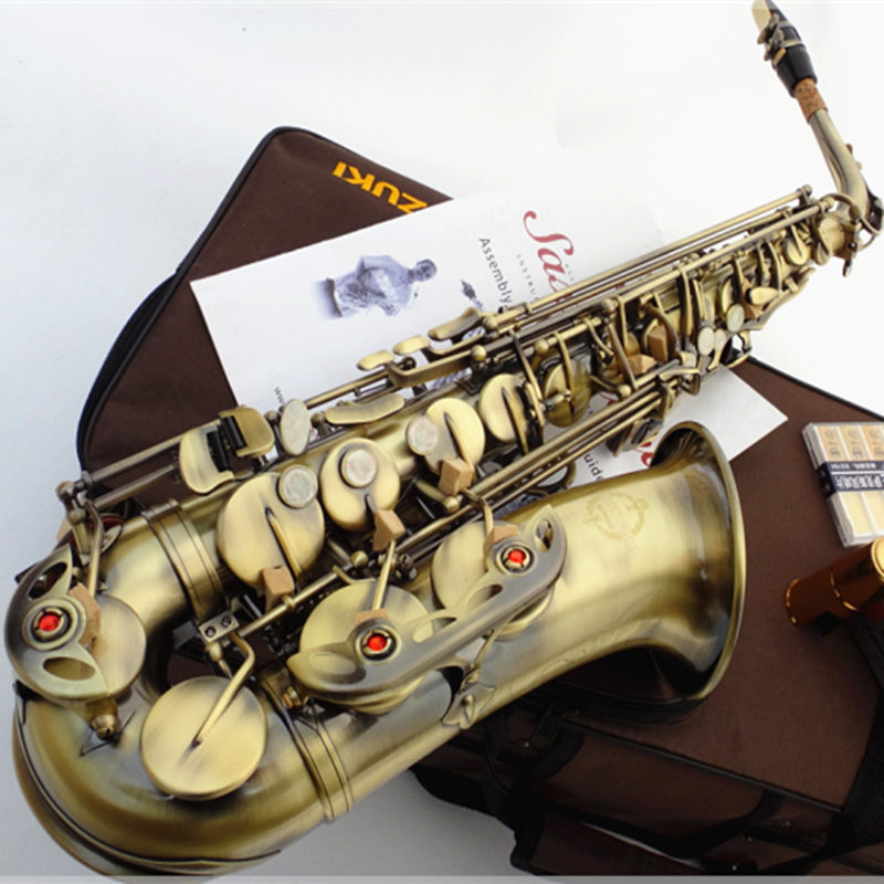 Suzuki Alto Saxophone E-Flat Su-875 Antique Copper Simulation Sax Hand Carved Flowers Musical Instruments with case Accessories laptop battery for sonyp vgpvgp bpl21 vg bps21 vgp bps21a vgp bps21 s bps21a b vgp bps21b battery