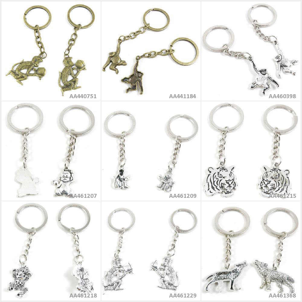 עתיק ברונזה כסף טון Keychain Keyring Keytag זאב זאב כלב קוף אפרסק נמר ראש Cartoon אורנגאוטן מפתח שרשרת קסמי