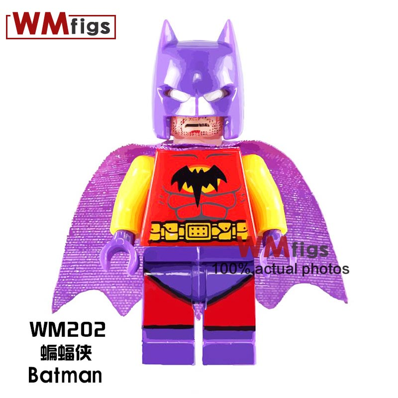 Blocks Building Blocks Single Sale Wm202 Purple Helmet Batman Dc Super Hero Avengers Cartoon Toys Assemble Bricks Kids Education Toys