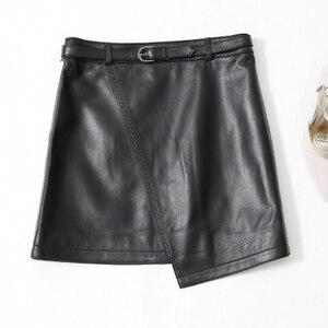 Image 2 - 2019 New Leather Sheepskin Skirt High Waist Skirt J14