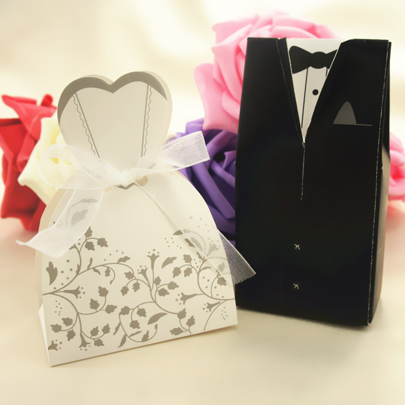 50pcs Diy Folding Wedding Decoration Candy Box Groom Tuxedo Dress Gown Ribbon Bridal Case Favor And Gifts In Storage Bo Bins From Home