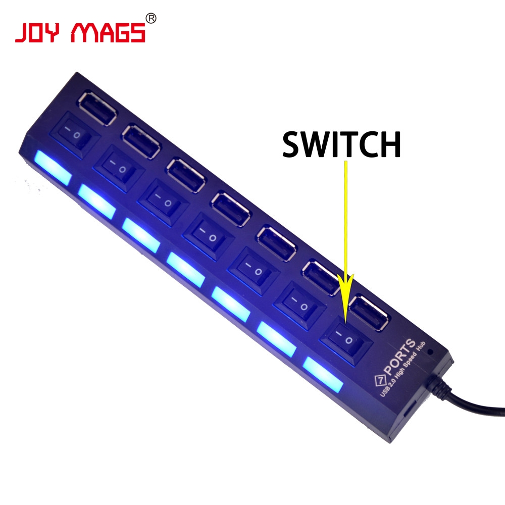 JOY MAGS High Quality Seven Port USB Hub Small Splitter Switch And Battery Box With USB For LED light Up Kit Building Block light switch shaped usb 2 0 4 port hub with switch