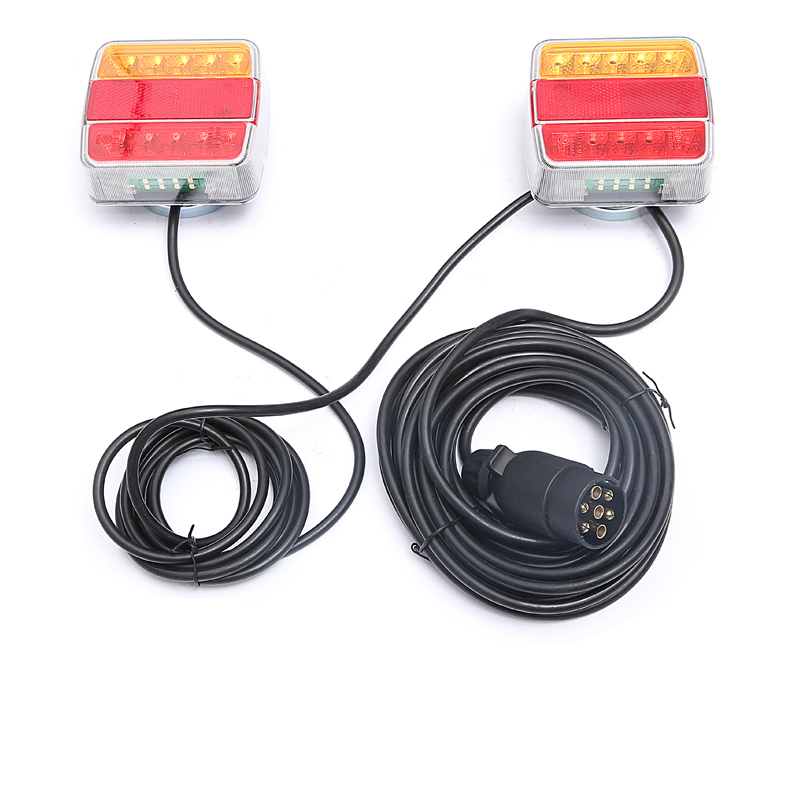 1 Set Trailer Rear Tail Light Cable Kits Indicator Lamp System Assembly with Magnetic Holder
