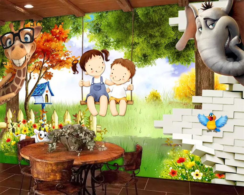 Beibehang Custom Wallpaper 3d Brick Wall Cartoon Children S Room