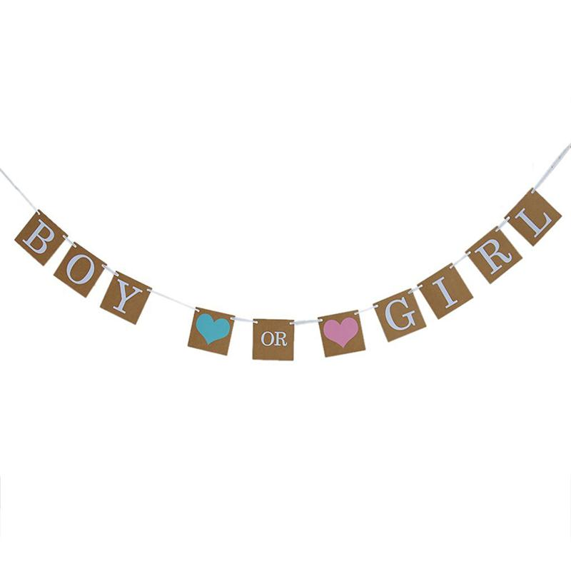 Boy or Girl Burlap Banner Baby Shower Gender Reveal Garland Bunting Flag Wedding Birthday Party Decoration Favor Paper Card S35