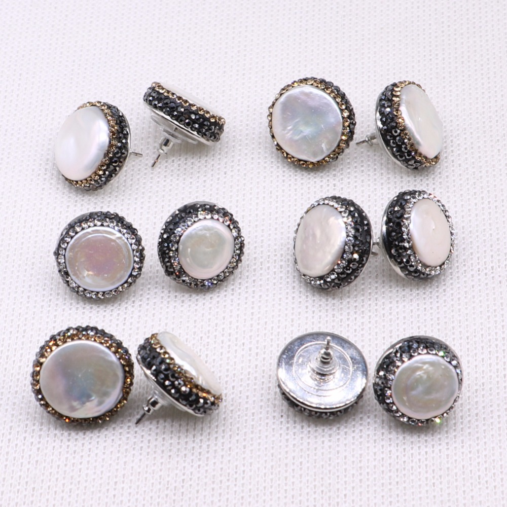 Natural Round pearls earrings pave rhinestone stud earrings wholesale simple style jewelry gift fashion for earrings