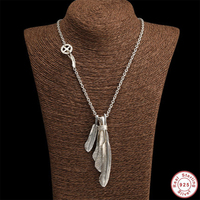 50g Men Necklace 100% Real 925 Sterling Silver Feathers Eagle Pendant Chain Necklace Gift Women Bohemia jewelry Christmas gifts